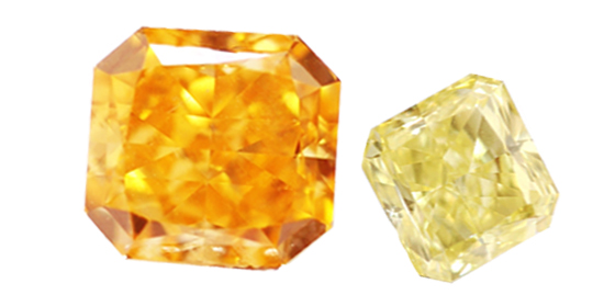 Fancy vivid yellow orange, radiant diamond and Natural Fancy Yellow Diamonds, Canary Diamonds by Leibish & Co by Fancy Diamonds, used under a Creative Commons License (http://creativecommons.org/licenses/by/2.0/legalcode)