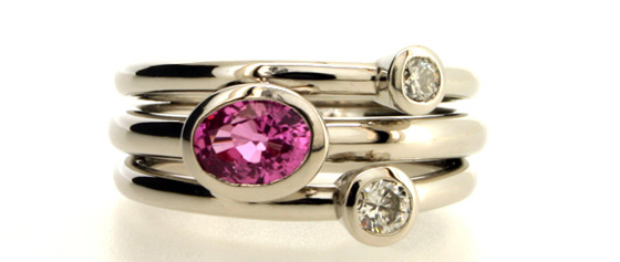 Three stone diamond ring by Robert Feather