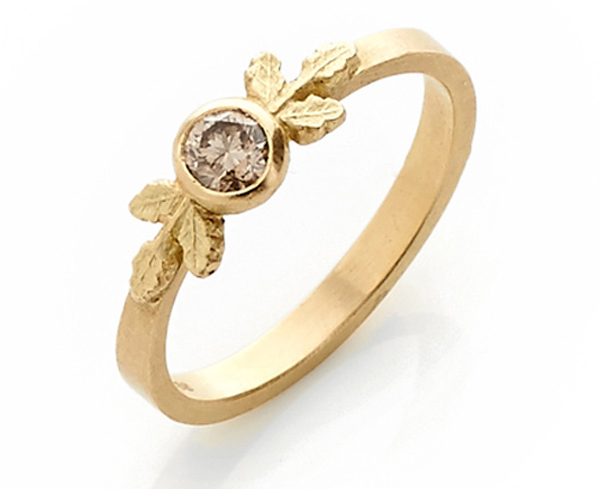 Cognac Diamond Engagement Ring by Beth Gilmour