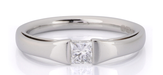 Platinum princess cut diamond by James Newman