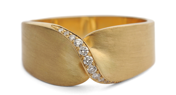 Brushed Gold Diamond Twist Ring by Jessica Poole