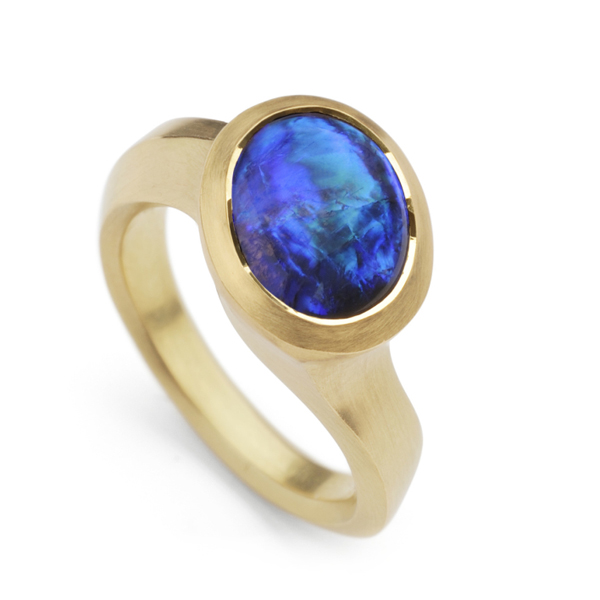 Lighting Ridge Opal and Yellow Gold Ring by David and Barry McCaul