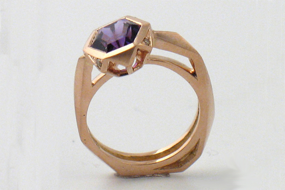 Amethyst Rose Gold Ring by Melanie Eddy