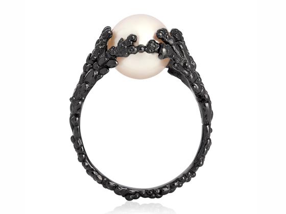 Rhodium Tahitian Pearl Ring by Ornella Iannuzzi