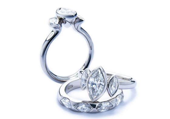 Platinum and Marquise diamond rings by Jon Dibben