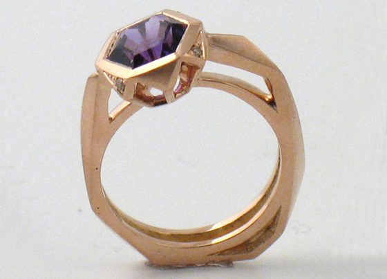 Amethyst Rose Gold Ring Side by Melanie Eddy