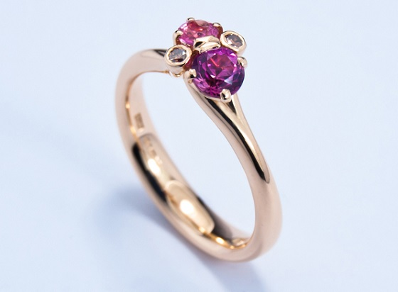 Pink Sapphire Meadow Cluster ring by Jon Dibben