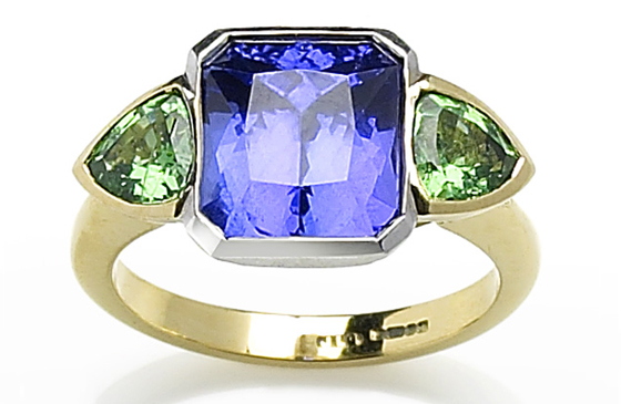 18 Carat Tanzanite and Emerald Ring by Julia Lloyd George