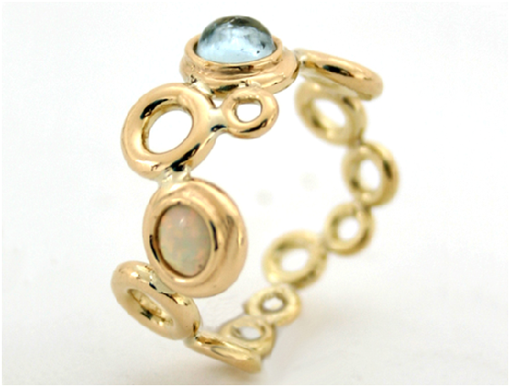 Ocean Foam ring with Aqua & Opal in 18 ct gold by Serena Fox
