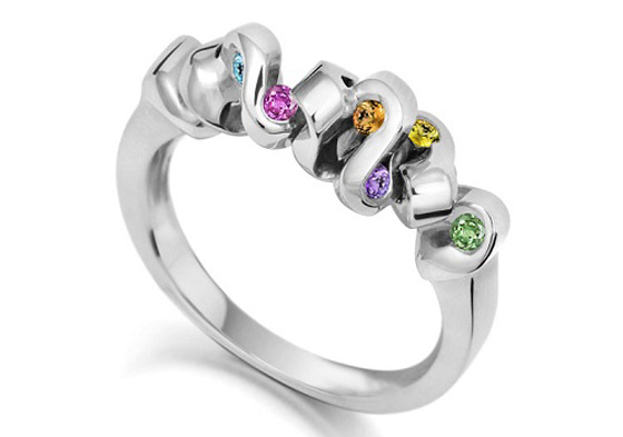 Small Random Ripple Ring  with coloured gems in white gold by Jessica Poole