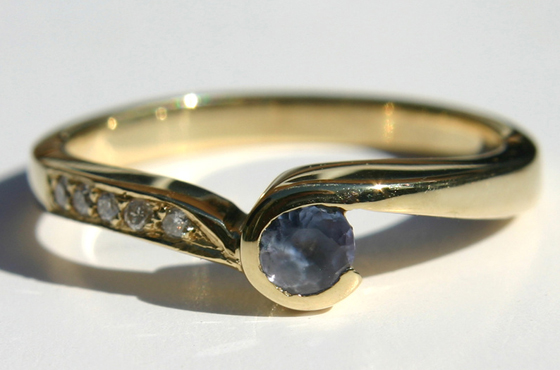 9ct yellow gold tanzanite and diamond ring by Aimee Winstone