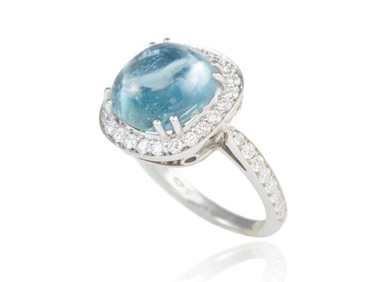 Blue Aquamarine Cabochon Cushion Diamond Ring by Esther Eyre