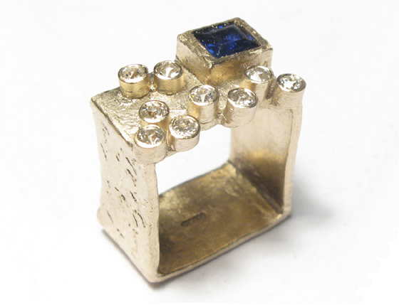 Etched 9ct yellow gold square band set with customers own brilliant cut white diamonds and princess cut blue sapphire by Diana Porter