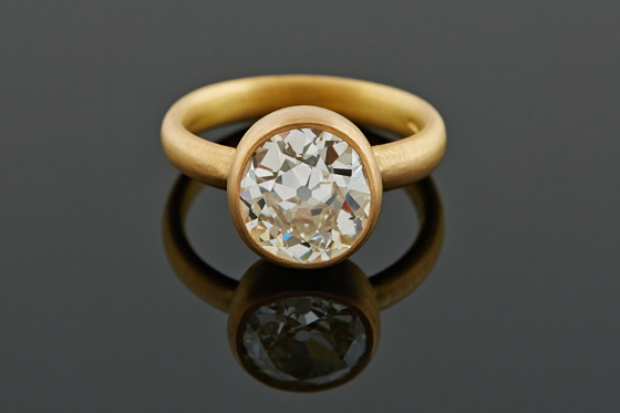 4ct Cushion Diamond Ring, 22ct Gold by Deborah Cadby