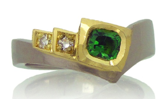 Tsavorite diamond yellow and white gold engagement ring by Amanda Li Hope