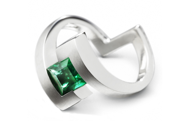 Emerald Engagement Ring by Amanda Mansell