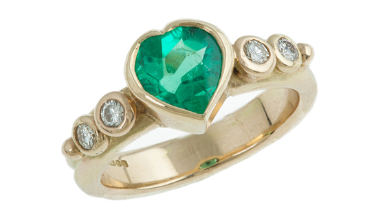 Far from your traditional emerald engagement rings, Susan Peires creates something very different.