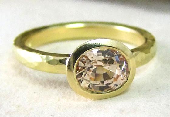 Amara Peach Sapphire Ring by Alexis Dove