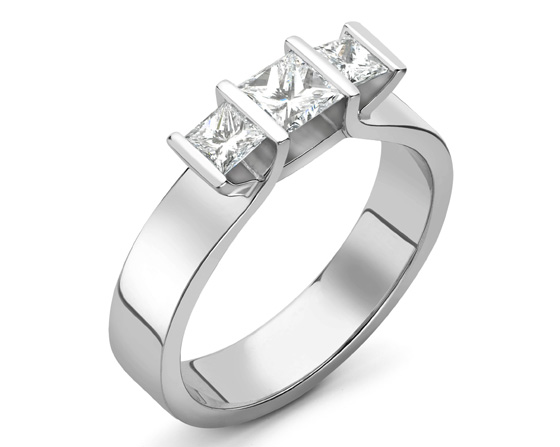 Andrew Geoghegan - Triumph PrincessThree stone Engagement ring platinum