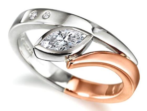 Two-tone engagement ring by Andrew Leggett