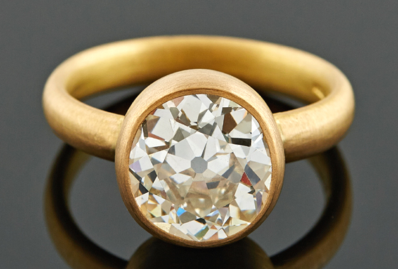 4ct Cushion Diamond Ring in 22ct Gold by Deborah Cadby