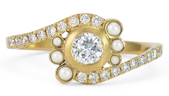 Pearl and Diamonds Ring by Jessica Poole