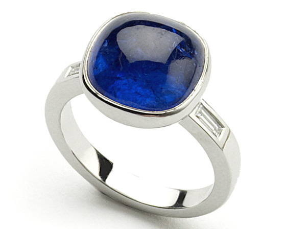 18 carat white gold Tanzanite cabochon and Diamond shoulders ring by Julia Lloyd George