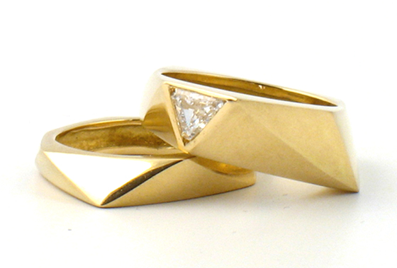 18k gold pinky rings, one with triangular diamond by Melanie Eddy