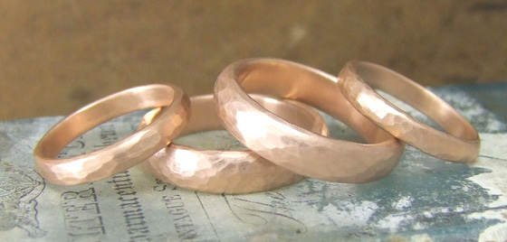 Rose gold beaten wedding rings by Alexis Dove